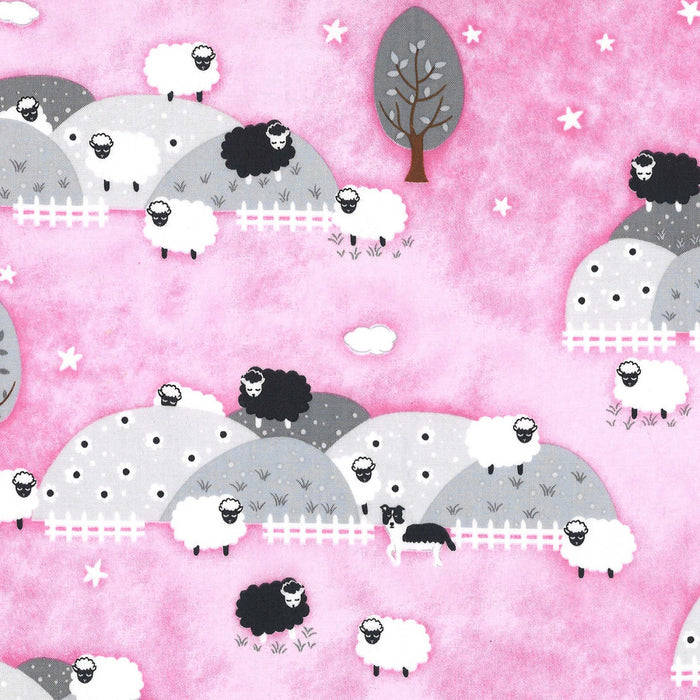 "Pink Counting Sheep 44"" fabric by Michael Miller, CX8368-girl"
