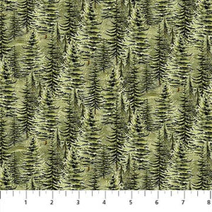 "Green Trees 44"" Flannel by Northcott, F23557-74, Lakeside Lodge"