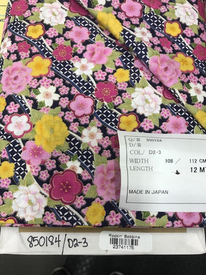 "Oriental Pink Flowers with metallic, 44"" fabric,  Sevenberry, 850184-D2-3"