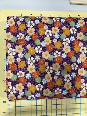 "Oriental Flowers with metallic, Purple background, 44"" fabric,  Sevenberry, 850154-1-2"