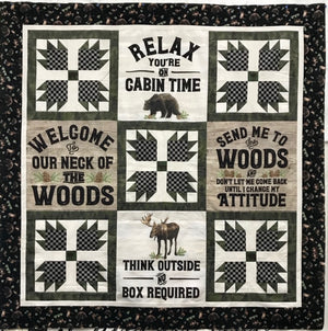 "Send Me to the Woods quilt kit featuring Riley Blake fabrics. Measures 63"" x 63"""