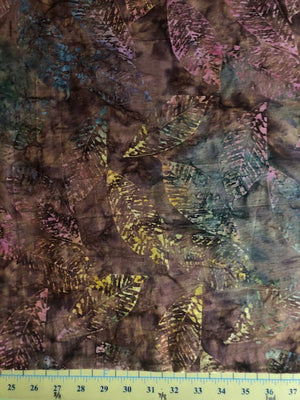 "Brown with multi color leaves 106"" batik, Timeless Treasures, B6233-Nature"