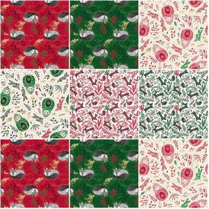 "Red and Green Winter Dreams , Metallic, by RJR Fabrics, JM100P-10X10-R Layer Cake (10"" squares)"