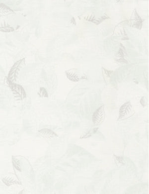 "Ice white leaves, 44"" quilt fabric, Timeless Treasures, JN-C4057-Ice"