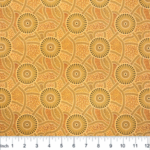 "Kangaroo Path Yellow Aboriginal 44"" fabric, M&S Textiles, KPY"