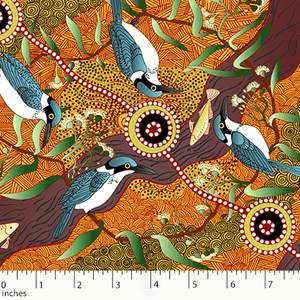 "Aboriginal Kingfisher bird Camp by River 44"" fabric, M&S Textiles, KCRY"