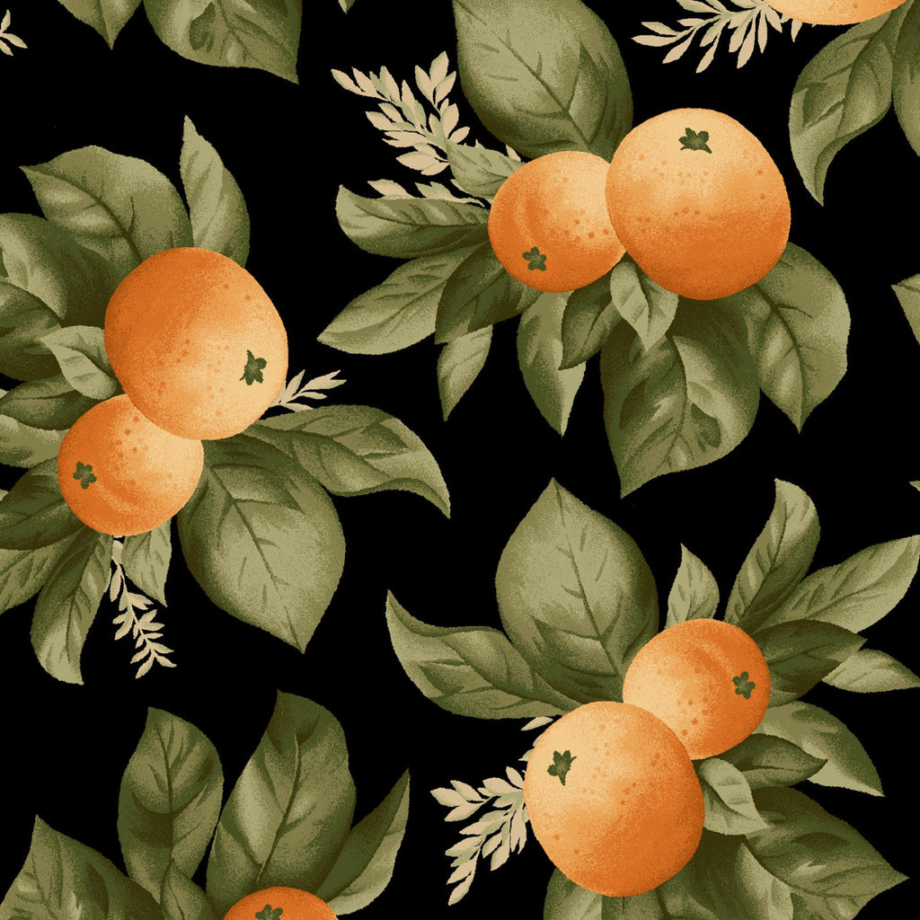"Oranges on Black Background 44"" fabric by Maywood studio, A Fruitful Life, MAS9323-J"