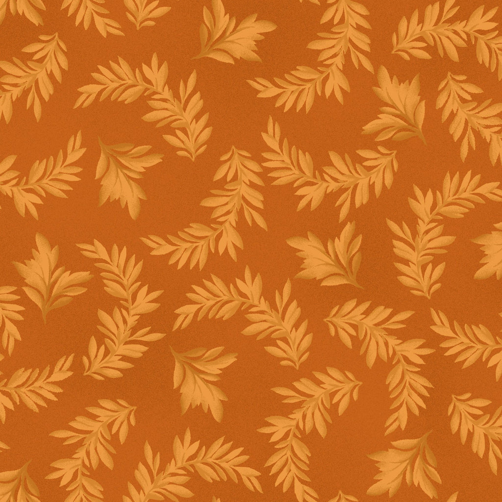 "Orange Leaves 44"" fabric by Maywood Studio, A Fruitful Life, MAS9325-O"