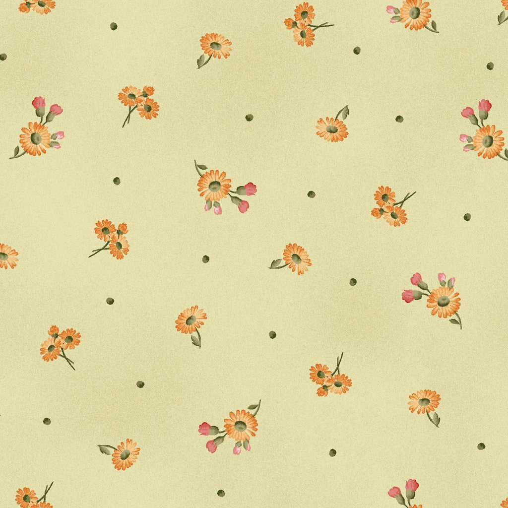 "Green with Tiny Daisies 44"" fabric by Maywood Studio, A Fruitful Life,  MAS9328-G"