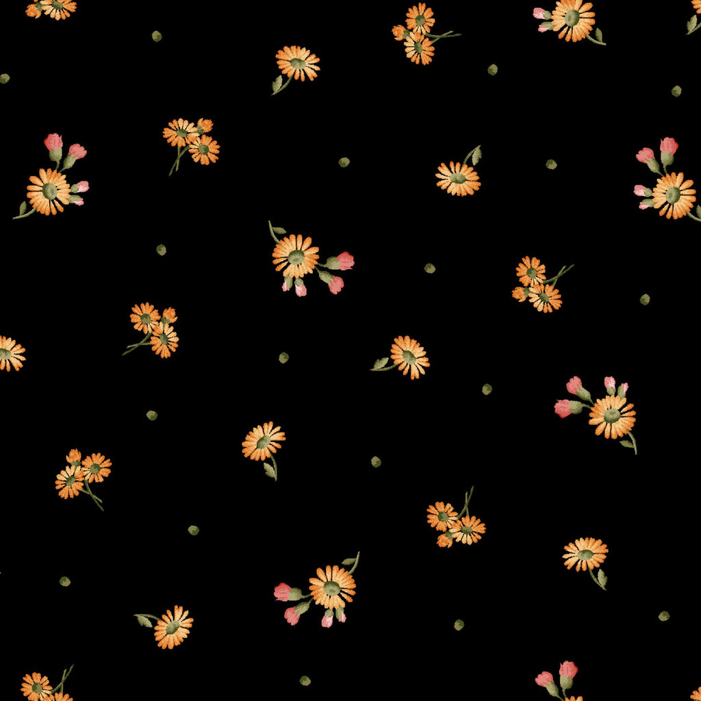 "Black Tiny Daisies 44"" fabric by Maywood Studio, A Fruitful Life, MAS9328-J"