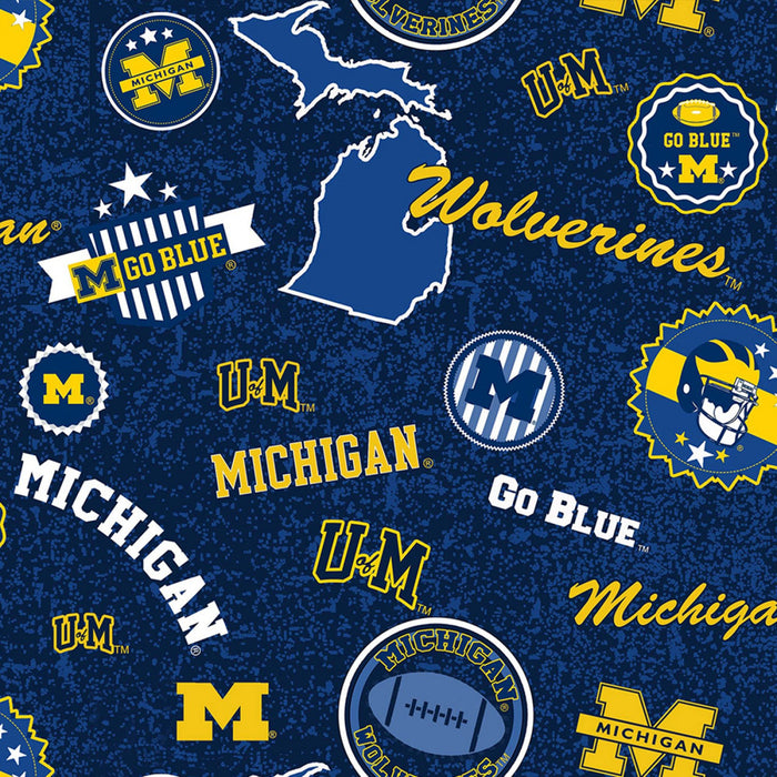 "University of Michigan Wolverines 'Go Blue' 44"" fabric, Sykel, MCHG-1208"