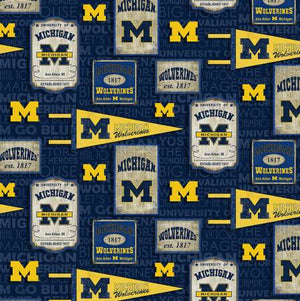 "University of Michigan Wolverines vintage pennant 44"" fabric, Sykel,  MCHG-1267"
