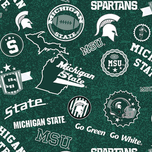 "Michigan State Spartans ' Go Green' 44"" fabric, Sykel,  Mist-1208"