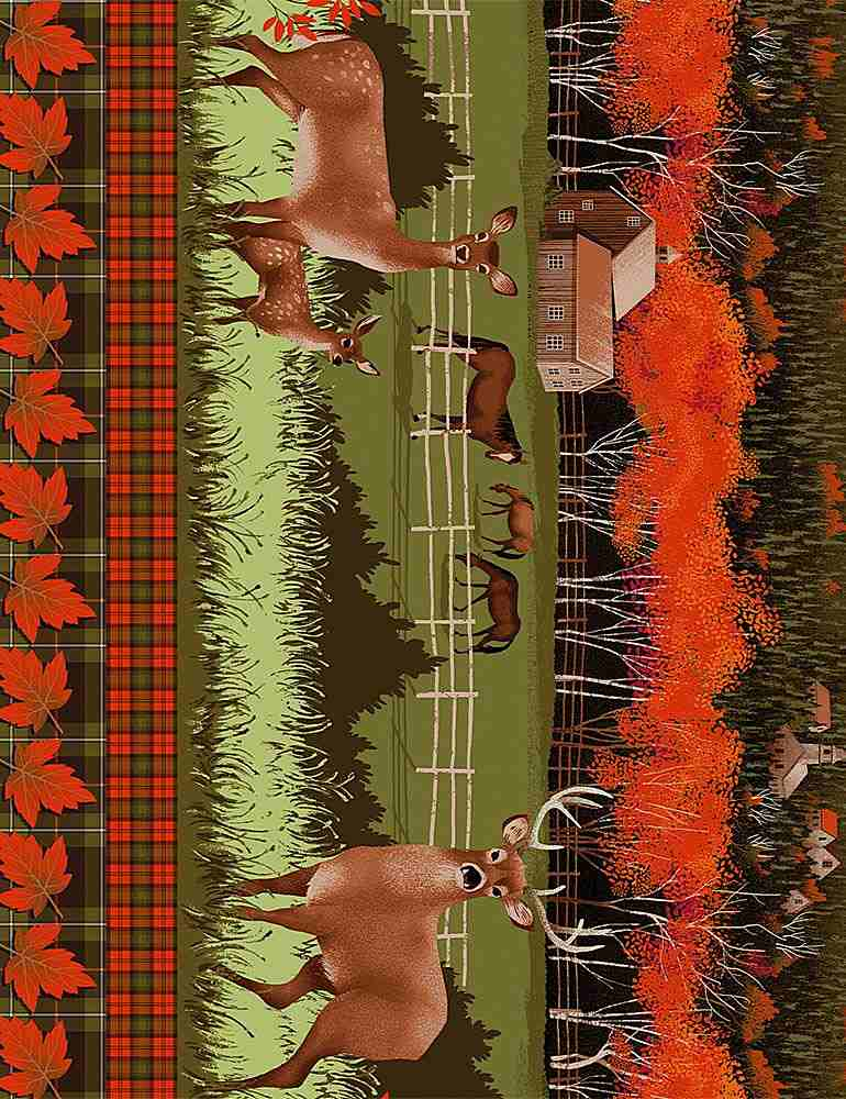"Deer Grazing on Farm 11"" Stripe, 44"" fabric by Timeless Treasures,  Nature-C7645 Multi"