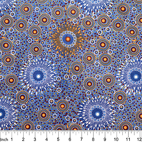 "Onion Dreaming Copper Blue Australian Aboriginal 44"" fabric by M&S Textiles, ODRCBL"