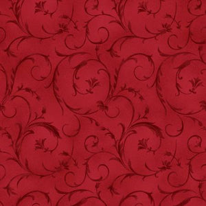 "Cherry Red Scroll 108"" fabric, Maywood Studio, QB100M-R2"