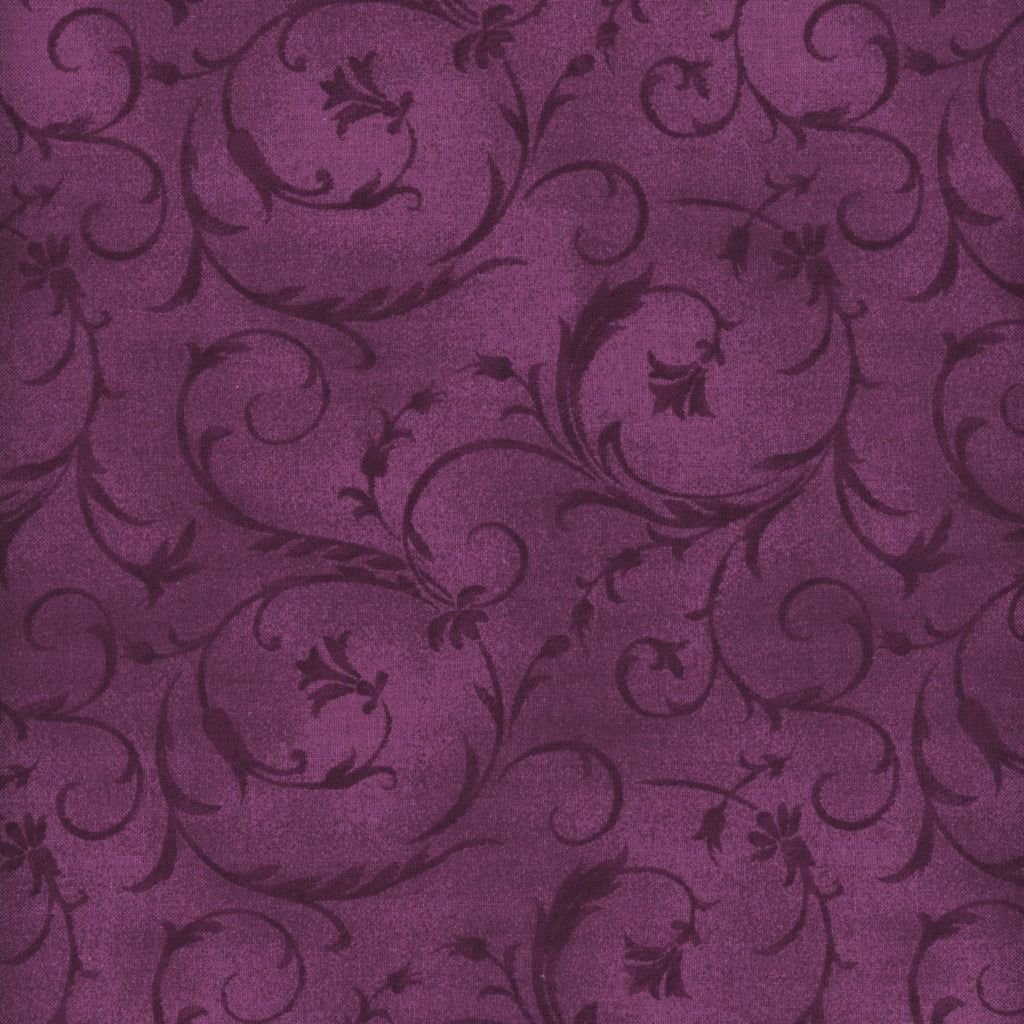 "Violet Red Scrolls 108"" fabric by Maywood Studio, QB100M-VR"