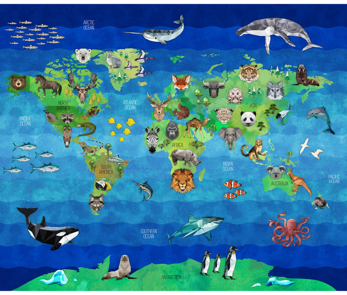"Animals on a Map 36"" x 43"" Hoffman panel,  R4639-58-Earth, Zookeeper"