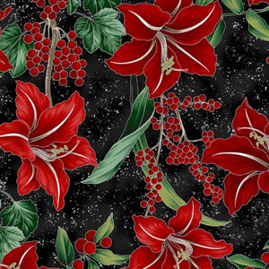 "Onyx, Black and Silver Lilly Winter Blooms, Hoffman Fabric,  44"" fabric, R7673-213S"