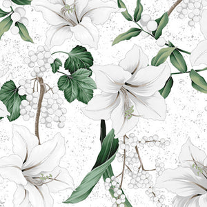 "White and Silver Winter Blooms with metallic 44"" fabric by Hoffman, R7673-3S"