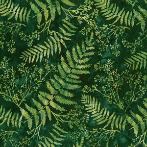 "Green Leaves 44"" batik by Hoffman, S2313-220-Fern"