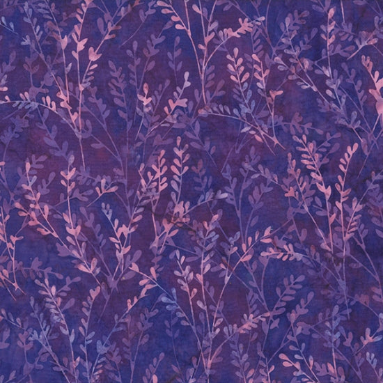 "Purple stems and leaves 44"" batik by Hoffman, S2317-382-Grape-Juice"