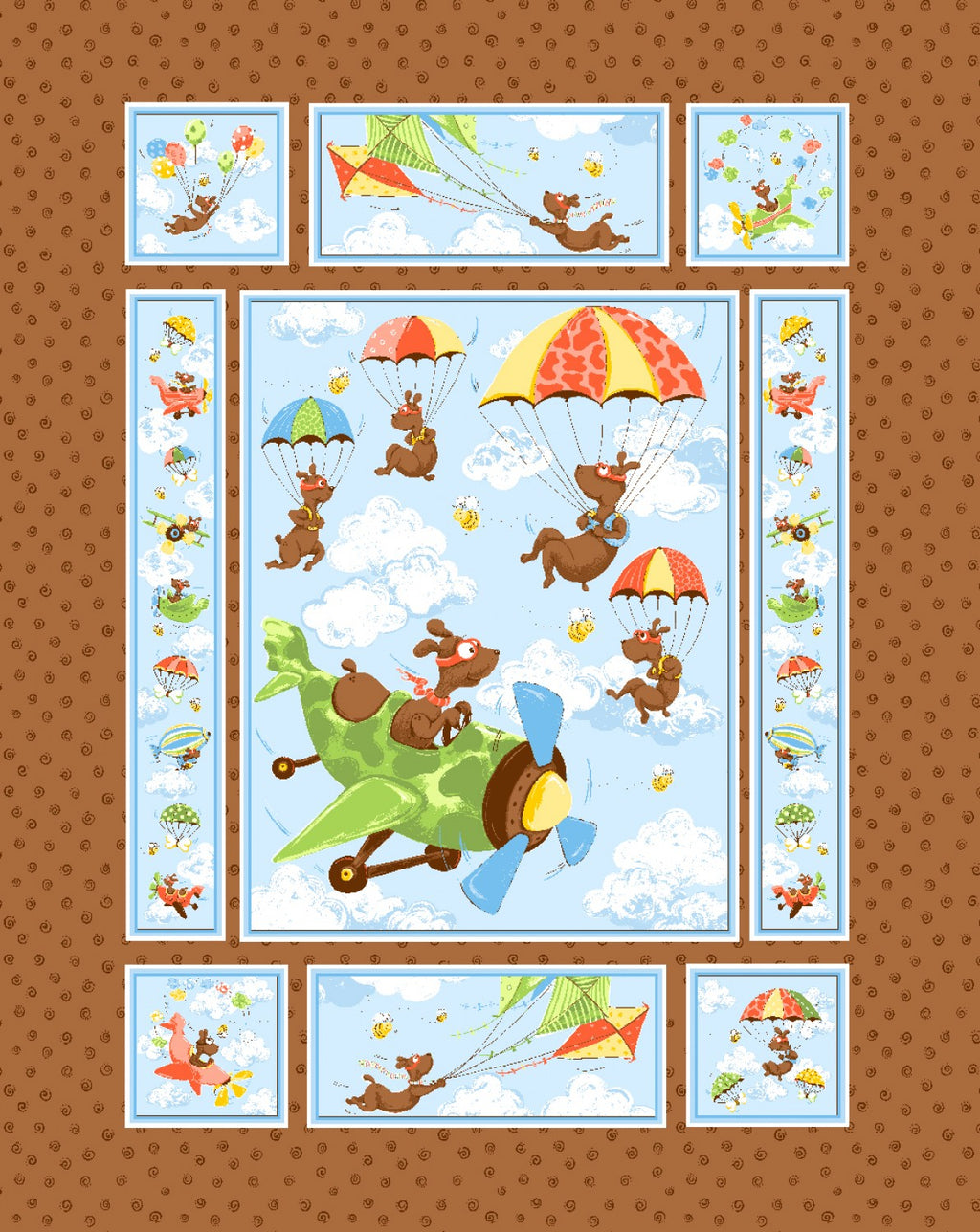 "Zig Flying Ace Quilt 36"" x 44"" Panel by Susybee, SB20315-280"