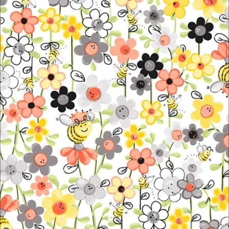 "White Bee Floral 44"" fabric by Clothworks, SB20363-100, Sweet Bees by Susybee"