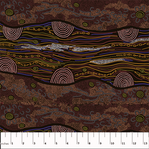 "Sandy Creek Red 44"" fabric, Australian Aboriginal, M&S Textiles, SCRR"