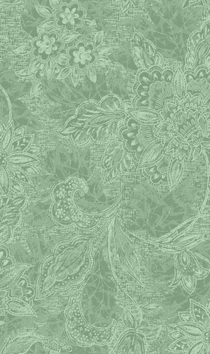 "Seafoam Green Flowers 118"" fabric by Oasis, 18-30811, Shadows"