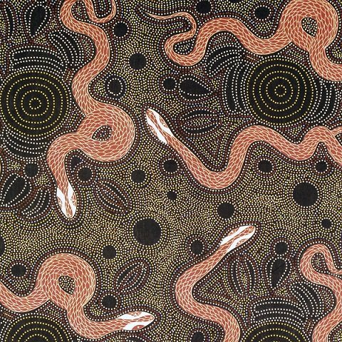 "Aboriginal Charcoal Snake and Emu 44"" fabric by M&S Textiles, SEC"