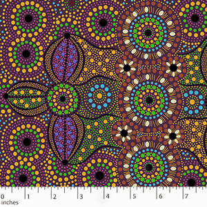 "Spirit Place Burgundy Australian Aboriginal 44"" fabric, M&S Textiles, SPBR"