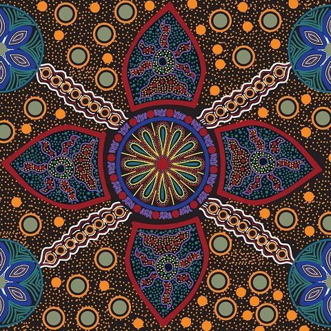 "Stella Black Australian Aboriginal, 44"" fabric by M&S Textiles, STEB"