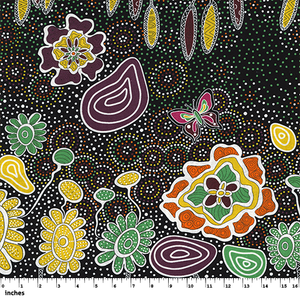 "Black Summertime Rainforest Australian Aboriginal, 44"" fabric, M&S Textiles, SRFB"