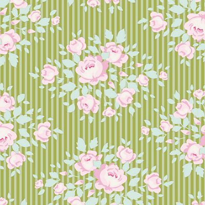 "Marylou Green 44"" fabric, Tilda Happy camper, TIL100239-V11"