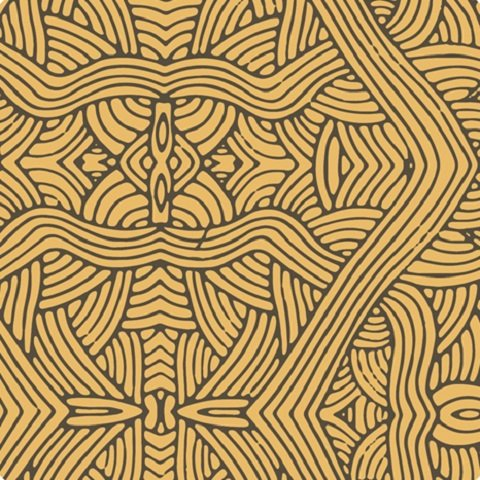 "Aboriginal abstract untitled Gold 44"" fabric by M&S textiles, UNG"