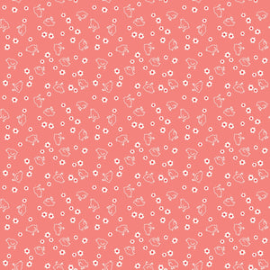 "Coral Chick and flowers 108"" fabric by Riley Blake, Bee Backings,  WB6423-cora"