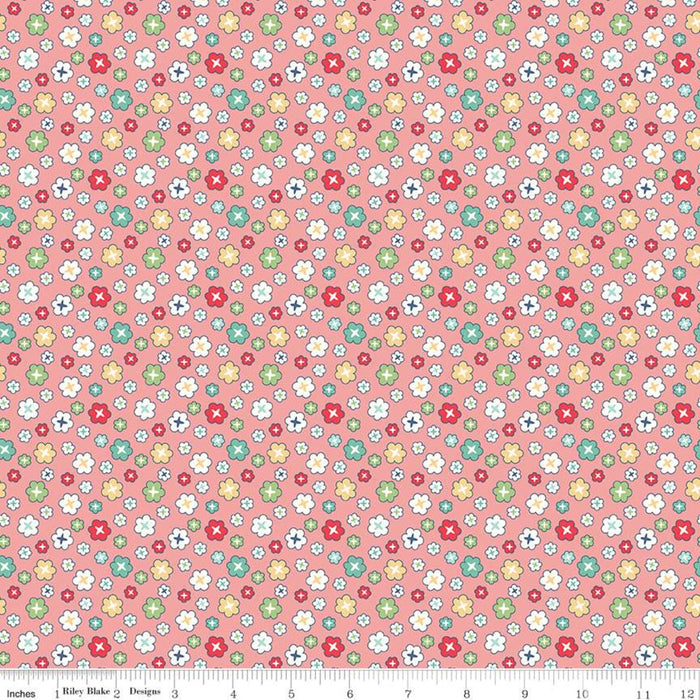 "Pink Blossoms 108"" fabric by Riley Blake, WB9136 Coral, Vintage Happy 2"
