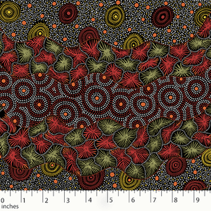 "Black Wild Seed & Waterhole Aboriginal 44"" fabric by M&S Textiles,  WSWB"