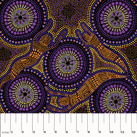 "Winter Spirits Purple Aboriginal 44"" fabric by M&S Textiles, WSP"