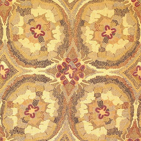 "Women Dreaming Burgundy Aboriginal 44"" fabric by M&S Textiles, WDB"
