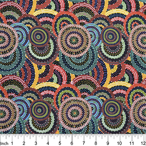 "Multi color circles, Aboriginal, Women's Body Dreaming Black by M&S Textiles, 44"" fabric,  WBDB"