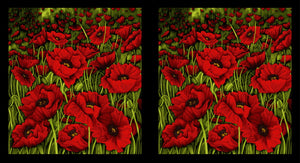 "Clothworks red Poppy Poetry panel Y2657-82 (24"" x 44"")"