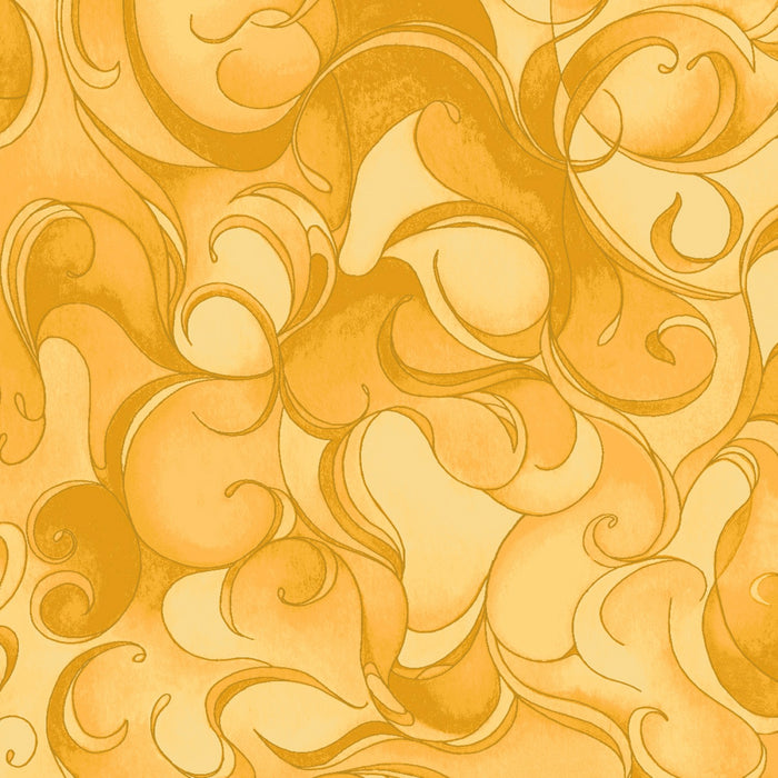"Yellow swirl 44"" fabric by Clothworks, Poppy Poetry Y2660-68"
