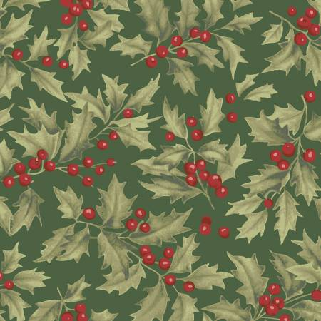 "Forest Green Holly 44"" fabric, Clothworks,  Y2985-113, Let Nature Sing"