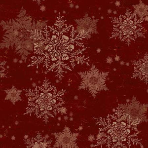 "Dark Red Snowflakes 44"" fabric, Clothworks, Y2986-83, Let Nature Sing"
