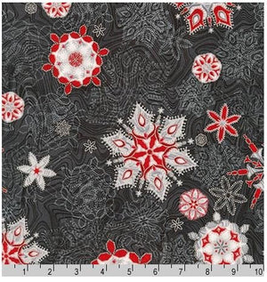 "Ebony & Silver Metallic Snowflakes 44"" fabric by Robert Kaufman, Holiday Flourish 11, aptm-17337-189"