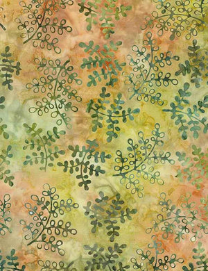 "Green petite leaves 106"" batik by Timeless Treasures, Xtonga B7515-Persimmon"