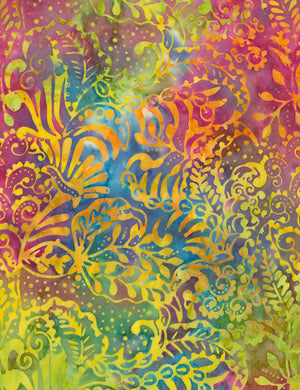 "Bright Color Leaves 106"" batik by Timeless Treasures, Xtonga B7704-Punch"