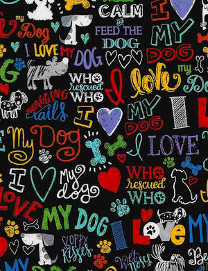 "I love my dog 44"" fabric, Timeless Treasures, C5710, black"